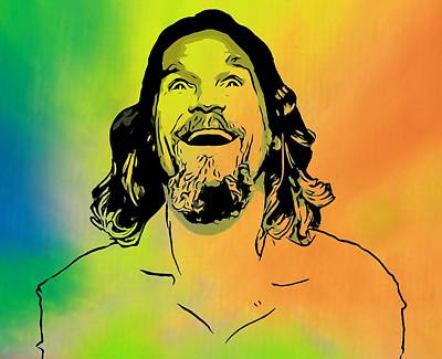 Jeff Mixed Media - The Dude Pop Art by Dan Sproul