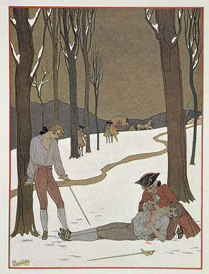 The Duel Between Valmont And Danceny Print by Georges Barbier