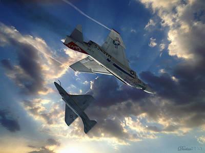 Mcdonnell Douglas F-4 Phantom Ii Digital Art - The Duel by Dorian Dogaru