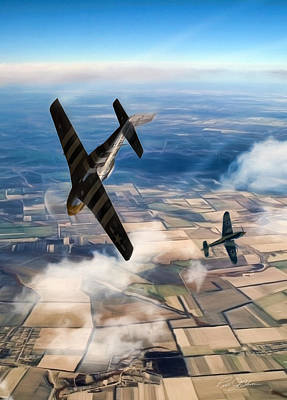 North American P51 Mustang Digital Art - The Duel  by Peter Chilelli