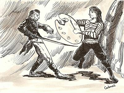 Drawing - The Duel by Rick Carbonell