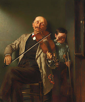 On Violin Painting - The Duet by Mountain Dreams