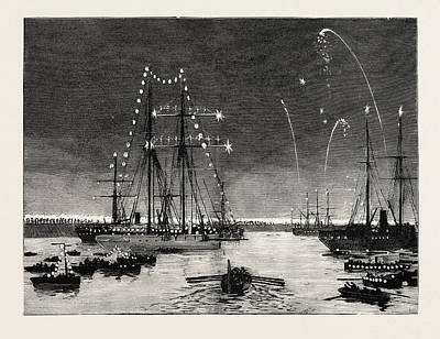 Duchess Drawing - The Duke And Duchess Of Connaught Leaving Colombo At Night by English School