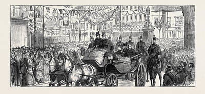 Duchess Drawing - The Duke And Duchess Of Edinburgh At Ashford The Procession by English School