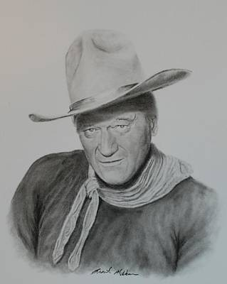 John Wayne Drawings Drawing - The Duke by Brent  Mileham