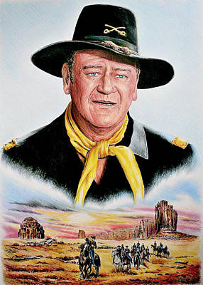 John Wayne Drawings Drawing - The Duke U.s.cavalry by Andrew Read