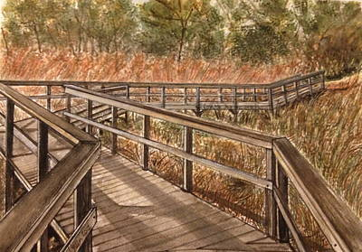 The Nature Center Painting - The Dunes Trails by Leslie Green