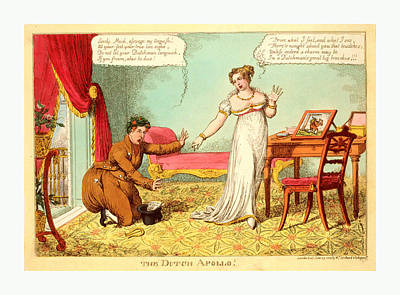 Caricature Drawing - The Dutch Apollo, London, 1814, The Prince Of Orange by Litz Collection