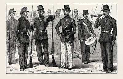 Oceania Drawing - The Dutch War In Sumatra Malay Soldiers Under The Dutch by School Of Indonesia