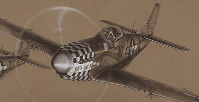 Mustang Drawing - The Duxford Boys Drawing by Wade Meyers