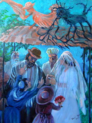 Angels Painting - The Dybuk And Angel by Shirl Solomon