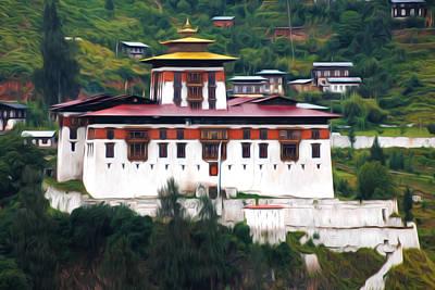 Tibetan Buddhism Painting - The Dzongs Of Bhutan by Lanjee Chee