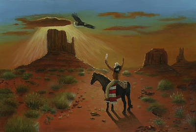 The Eagle And The Indian Art Print by Cecilia Brendel