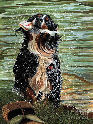 Big Fish Painting - The Early Berner Catcheth by Liane Weyers