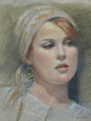 Gold Earrings Drawing - The Earring by Sarah Parks