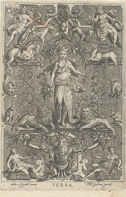 Terra Drawing - The Earth, In Frame Of Grotesques, Anonymous by Marcus Geraerts And Philips Galle