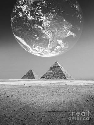 The Earth With Egyptian Pyramids  Art Print by Mohamed Elkhamisy
