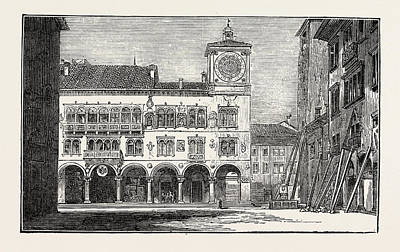 Religious Art Drawing - The Earthquake In Italy Belluno, The Town Hall by Italian School