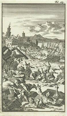 Bos Bos Drawing - The Earthquake, Jan Luyken, Barent Bos by Jan Luyken And Barent Bos