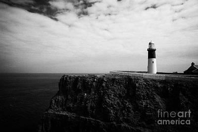 Irish Folklore Photograph - The East Light Lighthouse Altacarry Altacorry Head Rathlin Island Against Blue Sea And Blue Cloudy S by Joe Fox
