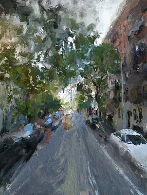 City Scenes Mixed Media - The East Side by Russell Pierce
