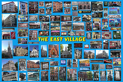 Print featuring the digital art The East Village Collage by Steven Spak