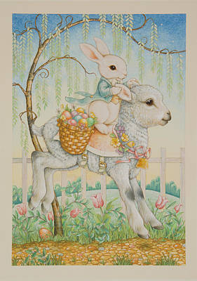 Easter Eggs Painting - The Easter Bunny Is Coming To Town by Lynn Bywaters