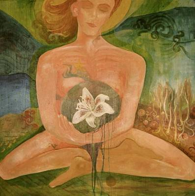 Second Chakra Painting - The Easter Lily by Rebekah Goldstein-Hawes
