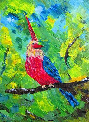 Forest Painting - The Eccentric Bird by Mario Perez