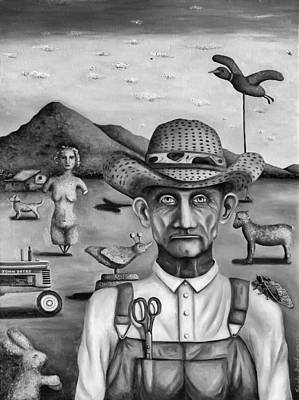 Old Barn Painting - The Eccentric Farmer Bw by Leah Saulnier The Painting Maniac