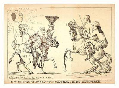 Eclipse Drawing - The Eclipse At An End - And Political Tilting Discovered by Litz Collection