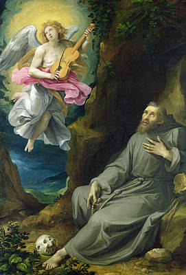 Guitar Angels Painting - The Ecstasy Of St. Francis Of Assisi by Guiseppe Cesari