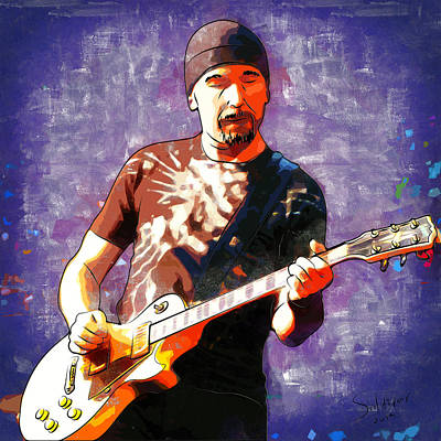 U2 Digital Art - The Edge by Roland Saldivar