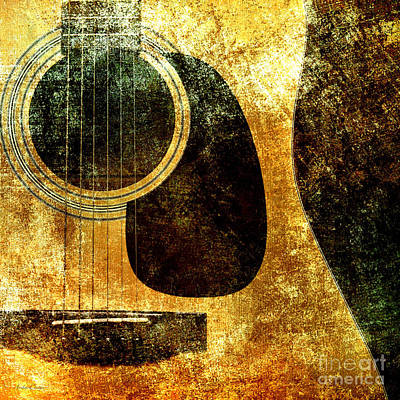 Mixed Media - The Edgy Abstract Guitar Square by Andee Design