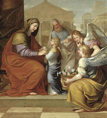 Child Jesus Photograph - The Education Of The Virgin, 1658 Oil On Canvas by Pierre Letellier