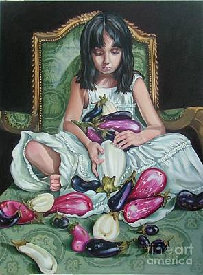 Painting - The Eggplant Princess by Shelley Laffal