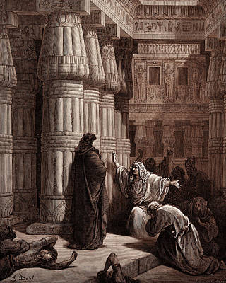 The Egyptians Urge Moses To Depart Art Print by Litz Collection