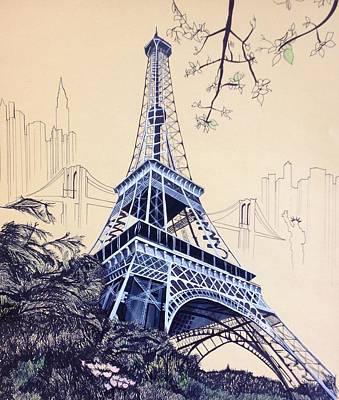 Landscape Drawing - The Eiffel City by Ann Marie Lander