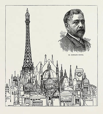 Eiffel Tower Drawing - The Eiffel Tower At The Paris Exhibition As Compared by Litz Collection