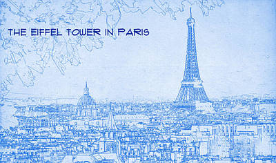 Eiffel Tower Mixed Media - The Eiffel Tower In Paris - Blueprint Drawing by MotionAge Designs