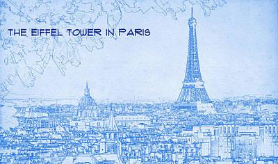 Paris Digital Art - The Eiffel Tower In Paris - Blueprint Drawing by MotionAge Designs