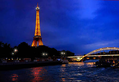 Photograph - The Eiffel Tower On The Seine At The Blue Hour by Mitchell R Grosky