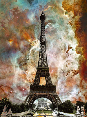 Space Mixed Media - The Eiffel Tower - Paris France Art By Sharon Cummings by Sharon Cummings