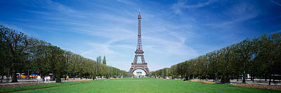 Row Of Trees Photograph - The Eiffel Tower Paris France by Panoramic Images