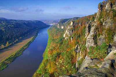 The Elbe Sandstone Mountains Along The Elbe River Art Print