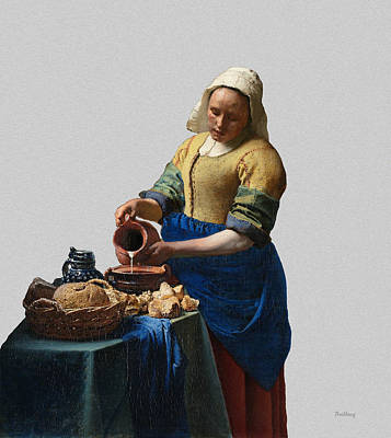 Pour Digital Art - The Elegance Of The Kitchen Maid by David Bridburg
