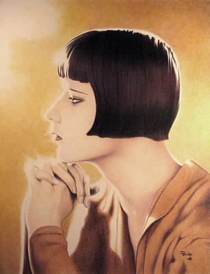 Colored Pencil Painting - The Elegant Profile And Imperious Neck Of Louise Brooks by Paul Petro