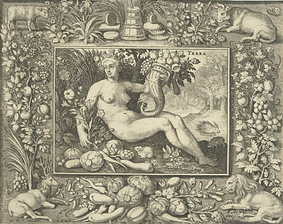 Cornucopia Drawing - The Element Of Earth As A Woman, Nicolaes De Bruyn by Nicolaes De Bruyn And Frederik De Wit And Francoys Van Beusekom