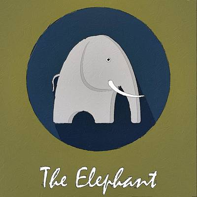 Painting - The Elephant Cute Portrait by Florian Rodarte