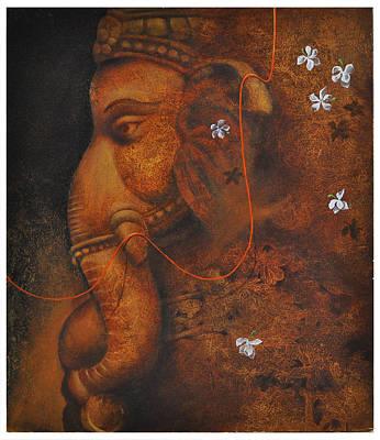 Painting - The Elephant God by Santanu Maity